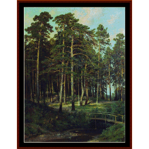 Bridge in the Forest, 1895 - Shishkin cross stitch pattern by Cross Stitch Collectibles | Crafting | Cross-Stitch | Wall Hangings