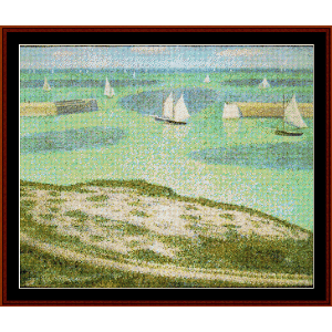 Entrance to the Harbor, 1888 - Seurat cross stitch pattern by Cross Stitch Collectibles | Crafting | Cross-Stitch | Wall Hangings
