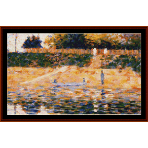 Boats Near the Beach, 1883 - Seurat cross stitch pattern by Cross Stitch Collectibles | Crafting | Cross-Stitch | Wall Hangings