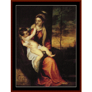 Mary with the Christ Child, 1561 - Titian cross stitch pattern by Cross Stitch Collectibles | Crafting | Cross-Stitch | Wall Hangings