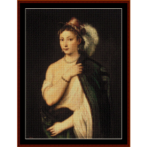 Young Woman with Feather Hat - Titian cross stitch pattern by Cross Stitch Collectibles | Crafting | Cross-Stitch | Wall Hangings