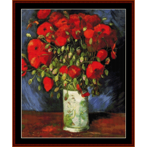 Vase with Red Poppies, 1886 - Van Gogh cross stitch pattern by Cross Stitch Collectibles | Crafting | Cross-Stitch | Wall Hangings