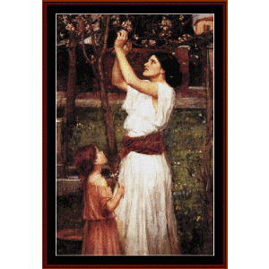 Gathering Almond Blossoms, 1916 - Waterhouse cross stitch pattern by Cross Stitch Collectibles | Crafting | Cross-Stitch | Wall Hangings