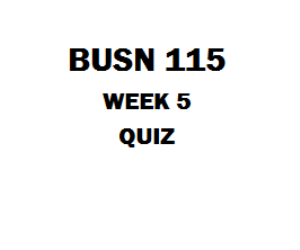 BUSN 115 Week 5 Quiz | eBooks | Education