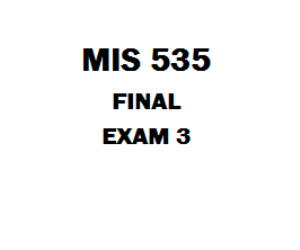 MIS 535 Final Exam | eBooks | Education