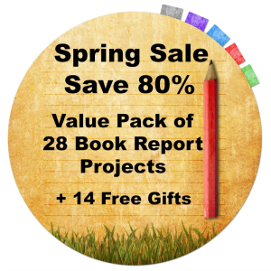 Spring 80% Off Sale:  Value Pack of 28 Book Report Projects + 14 Free Gifts | Documents and Forms | Templates