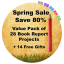 Teacher Appreciation 80% Off Sale:  Value Pack of 28 Book Report Projects + 14 Free Gifts | Documents and Forms | Templates
