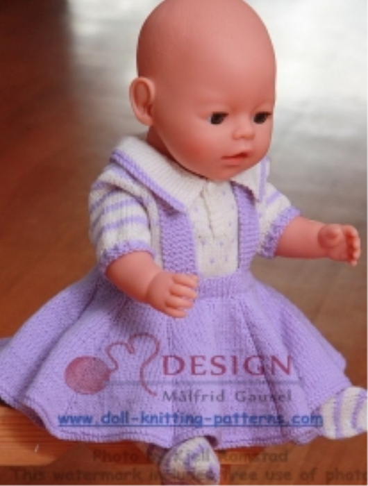 First Additional product image for - DollKnittingPatterns - 0011D LILLY - Kjole, Truse og Strømper-(Norsk)