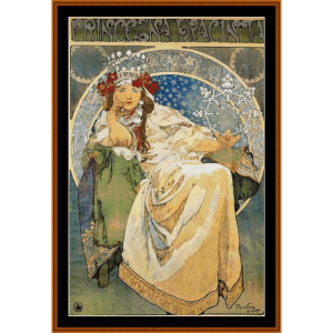 Princess Hyacinth, 1911 -Mucha cross stitch pattern by Cross Stitch Collectibles | Crafting | Cross-Stitch | Wall Hangings