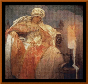 Woman with Burning Candle - Mucha cross stitch pattern by Cross Stitch Collectibles | Crafting | Cross-Stitch | Wall Hangings