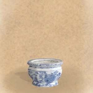 small blue and white pot embroiderers background