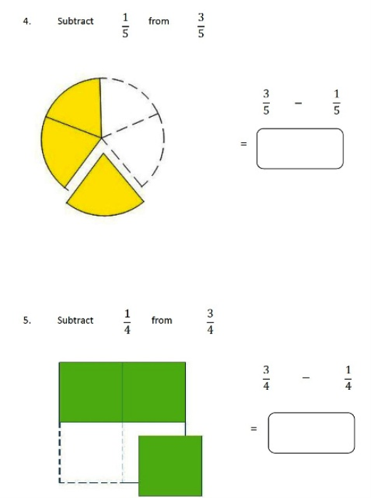 First Additional product image for - Subtracting Fractions 4th Grade 5th Grade