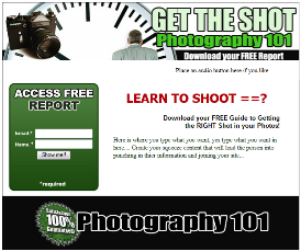 photography squeeze page template