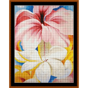 hibiscus with plumeria - o'keeffe cross stitch pattern by cross stitch collectibles