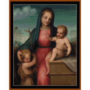 Madonna & Child with St. John the Baptist - Del Sarto cross stitch pattern by Cross Stitch Collectibles | Crafting | Cross-Stitch | Wall Hangings