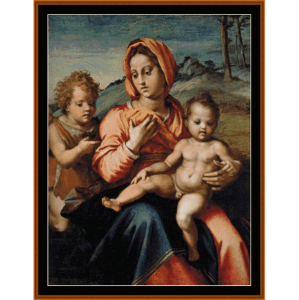Madonna & Child w/Infant St. John - Del Sarto cross stitch pattern by Cross Stitch Collectibles | Crafting | Cross-Stitch | Wall Hangings