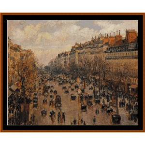 Blvd. Montmarte, Afternoon Sunlight - Pissarro cross stitch pattern by Cross Stitch Collectibles | Crafting | Cross-Stitch | Wall Hangings