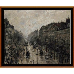 Blvd. Montmarte, Foggy Morning - Pissarro cross stitch pattern by Cross Stitch Collectibles | Crafting | Cross-Stitch | Wall Hangings