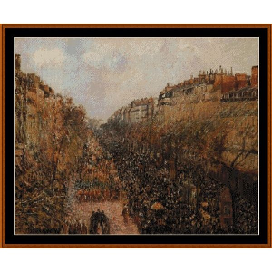 Blvd. Montmarte, Mardi Gras - Pissarro cross stitch pattern by Cross Stitch Collectibles | Crafting | Cross-Stitch | Wall Hangings