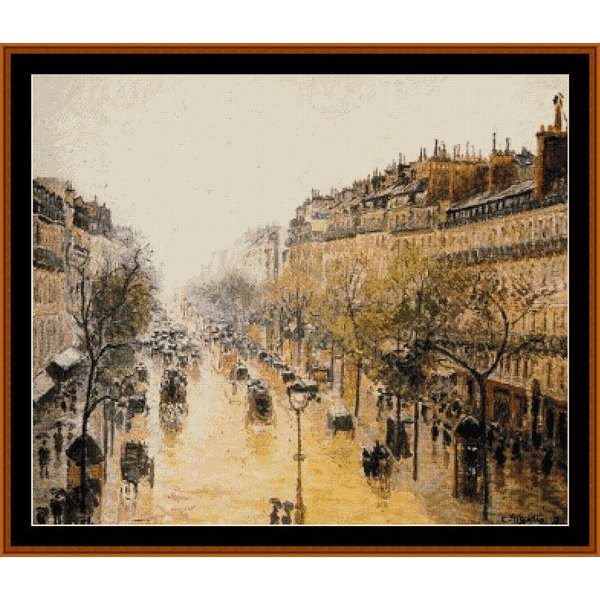 First Additional product image for - Blvd. Montmarte, Spring Rain - Pissarro cross stitch pattern by Cross Stitch Collectibles