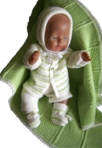DollKnittingPattern 0004D CHRISTINA - Cardigan, Muts, Romper, Sokjes en Dekentje-(Nederlands) | Crafting | Knitting | Baby and Child
