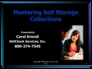 Mastering Self Storage Collections - July 2013 | Movies and Videos | Educational