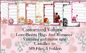"printable stationery designs: custom stationery selection volume ""love hearts hugs and romance"""