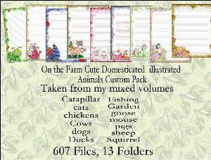 "printable stationery designs: custom stationery selection volume ""on the farm cute domesticated  illustrated animals custom pack"""