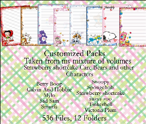 "printable stationery designs: custom stationery selection volume ""strawberry shortcake and care bears"""