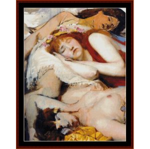 Exhausted Maenides after the Dance - Alma Tadema cross stitch pattern by Cross Stitch Collectibles | Crafting | Cross-Stitch | Other