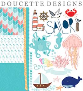 nautical hand drawn illustrations clip art