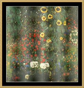 country garden with sunflower - klimt
