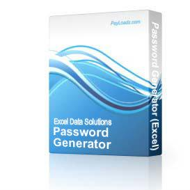 Password Generator (Excel) | Software | Utilities