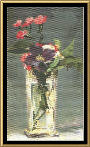 Great Masters Still Life Series - Pink & Clematis In Crystal - Manet | Crafting | Cross-Stitch | Wall Hangings