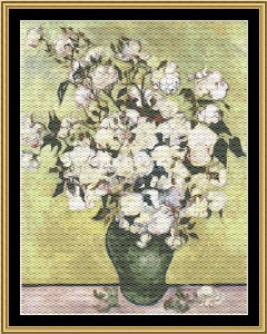 Great Masters Still Life Series - Vase With Roses - Van Gogh | Crafting | Cross-Stitch | Wall Hangings