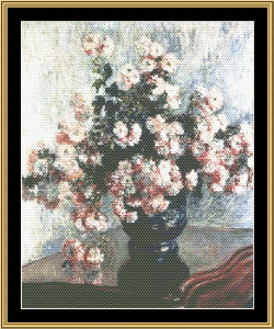 great masters still life series - chrysanthemums in vase - monet