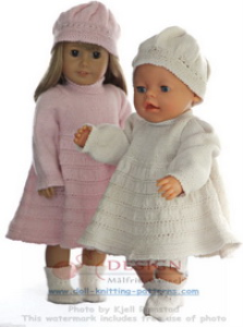 dollknittingpattern 0127d isa lotte - dress, cap, pants and shoes -(english)
