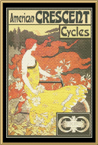 Art Nouveau Poster Collection - American Crescent Cycles | Crafting | Cross-Stitch | Wall Hangings
