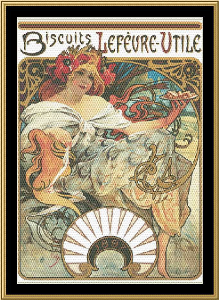 Art Nouveau Poster Collection - Biscuits Le Fevre - Utile | Crafting | Cross-Stitch | Wall Hangings