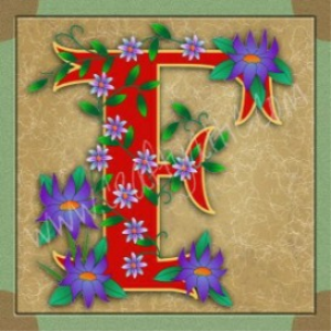 illuminated letter f embroiderers background