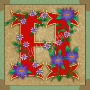 Illuminated Letter H embroiderers background | Crafting | Embroidery