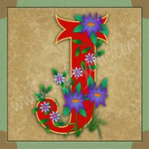 Illuminated Letter J embroiderers background | Crafting | Embroidery