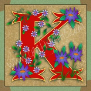 Illuminated Letter K embroiderers background | Crafting | Embroidery