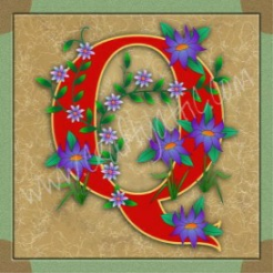 Illuminated Letter Q embroiderers background | Crafting | Embroidery