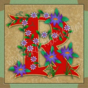 Illuminated Letter R embroiderers background | Crafting | Embroidery
