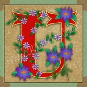 Illuminated Letter U embroiderers background | Crafting | Embroidery