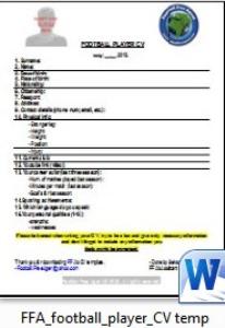 footbal/soccer cv template