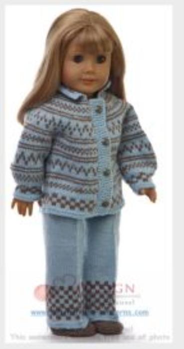 First Additional product image for - DollKnittingPatterns 0128D EMMELINE - Pull, Pantalon, Bonnet et Chaussettes-(Francais)