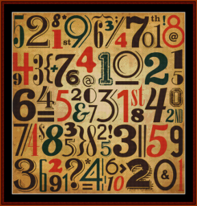 Abstract Vintage Numbers cross stitch pattern by Cross Stitch Collectibles | Crafting | Cross-Stitch | Wall Hangings