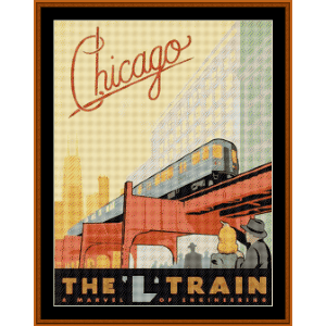 Chicago - Vintage Poster cross stitch pattern by Cross Stitch Collectibles | Crafting | Cross-Stitch | Wall Hangings